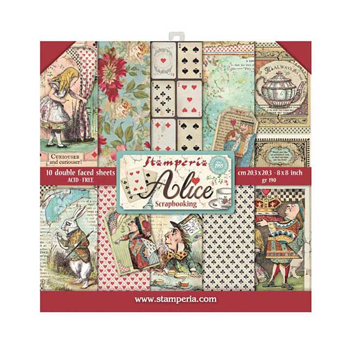 Stamperia Alice 8x8 Inch Paper Pack