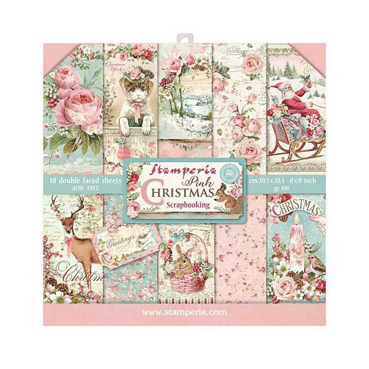 SO: Stamperia Pink Christmas 8x8 Inch Paper Pack