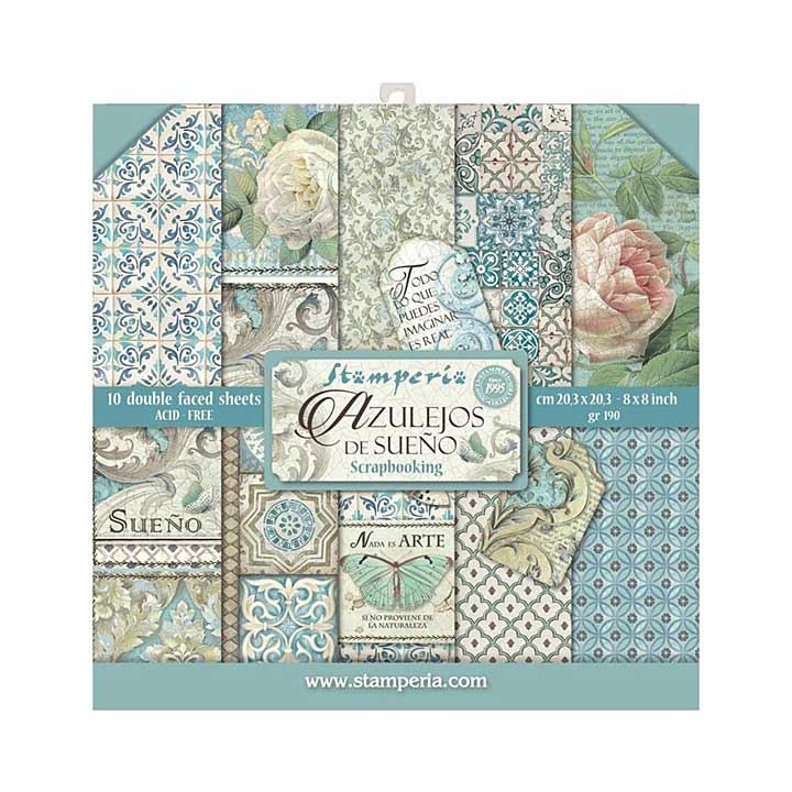 Stamperia Double Sided Paper Pad - Azulejos 8x8