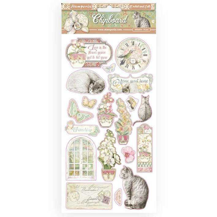 Stamperia Chipboard - Orchids And Cats (15 x 30cm)