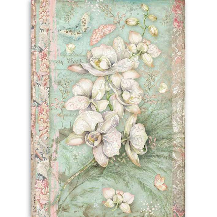 Stamperia A4 Rice Paper White Orchid