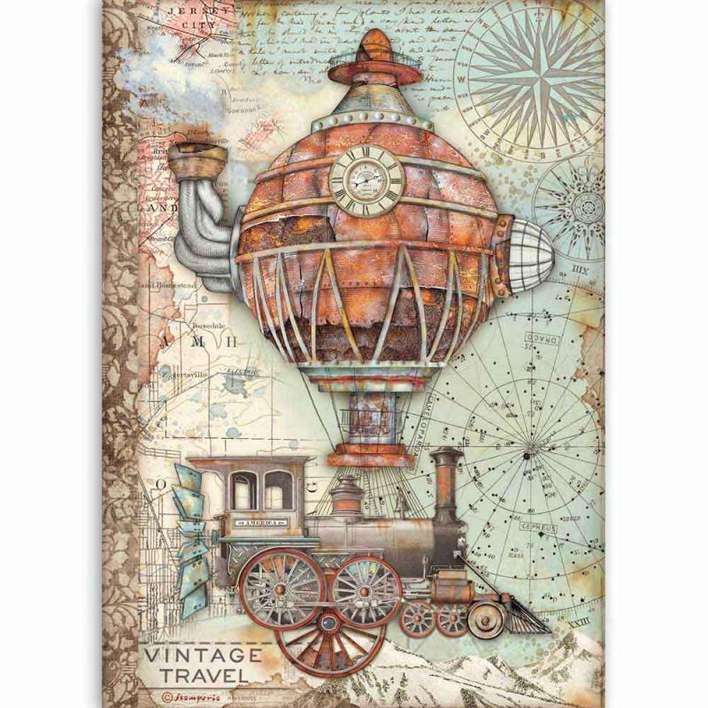Stamperia A4 Rice Paper Sir Vagabond Vintage Travel