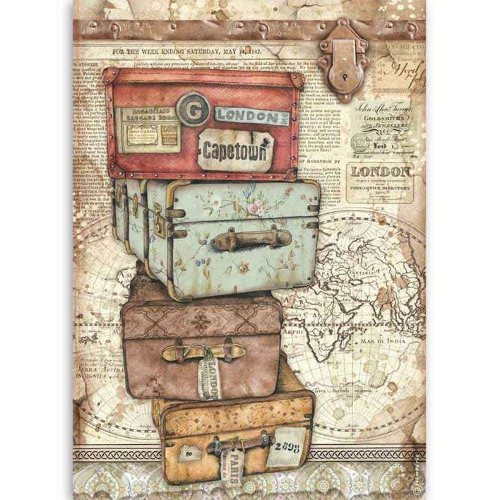Stamperia A4 Rice Paper Lady Vagabond Luggage