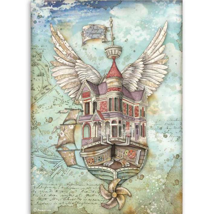 Stamperia A4 Rice Paper Lady Vagabond Flying Ship