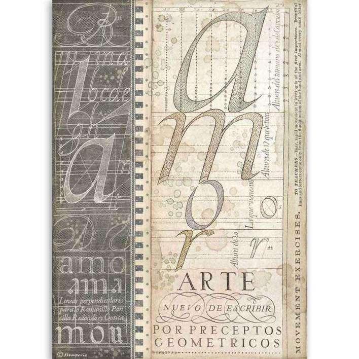 Stamperia A4 Rice Paper Alphabet