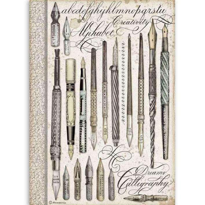 Stamperia A4 Rice Paper pens