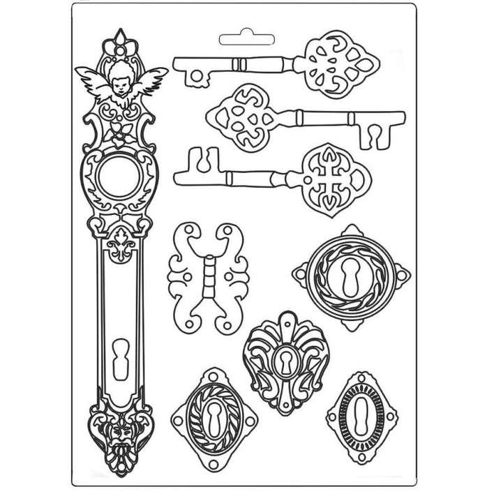 Stamperia Soft Mould A4 Lady Vagabond Keys And Locks
