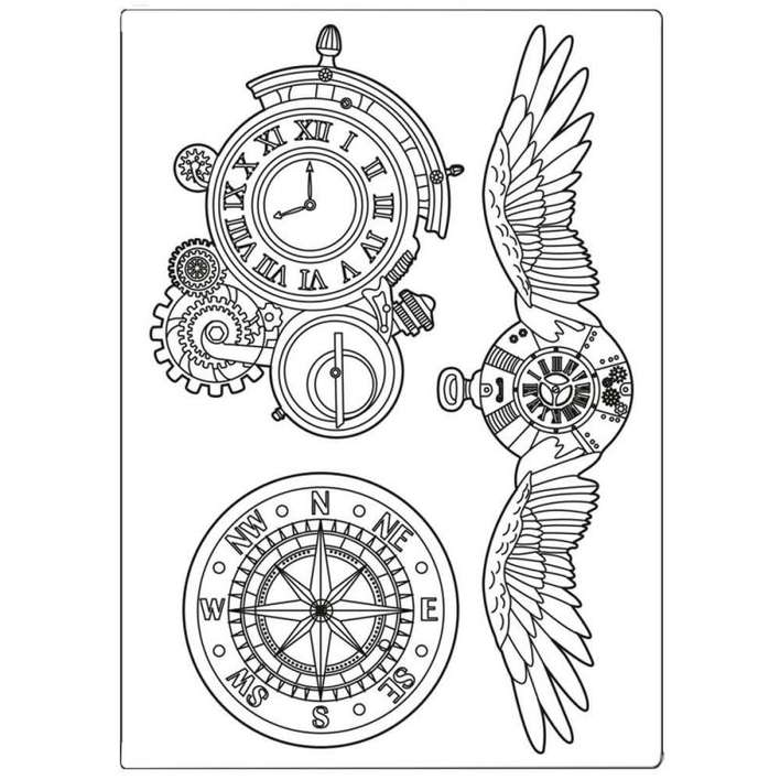 Stamperia Silicone Mould A5 Sir Vagabond Clocks And Wings