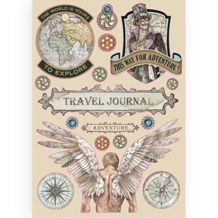 Stamperia A5 Coloured Wooden Frame - Sir Vagabond Travel Journal