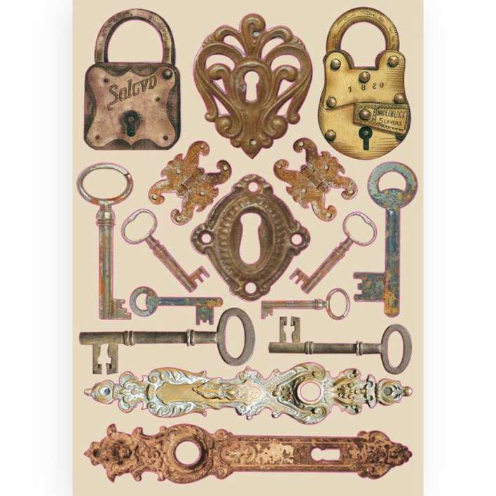 Stamperia A5 Coloured Wooden Frame - Lady Vagabond Locks And Keys