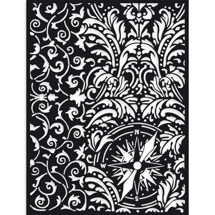 Stamperia Thick Stencil Sir Vagabond Wallpaper And Compass (15 x 20cm)