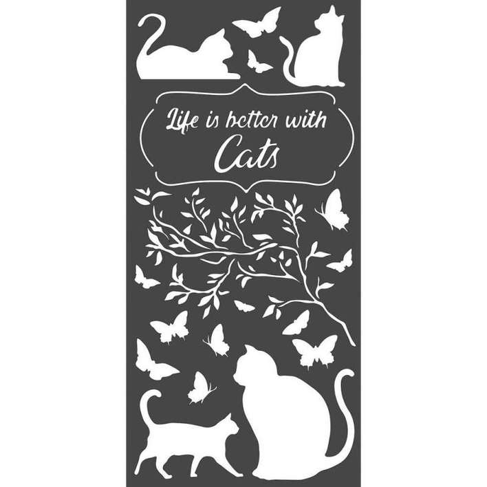 StamperiaThick Stencil Life Is Better With Cats (12 x 25cm)