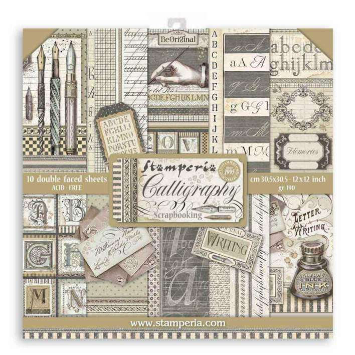 Stamperia Scrapbooking Pad 10 Double Sided Sheets - Calligraphy (30.5×30.5 cm, 12x12)