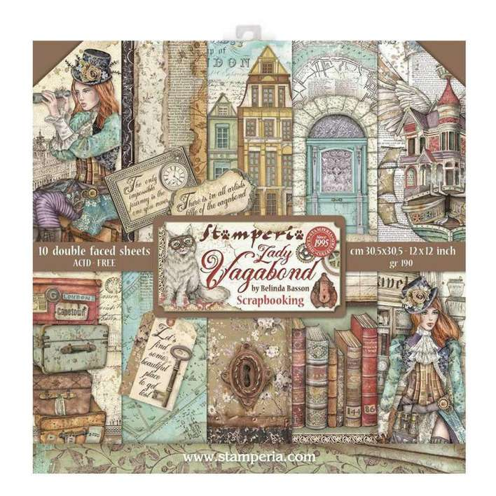 Stamperia Scrapbooking Pad 10 Double Sided Sheets - Lady Vagabond (30.5×30.5 cm, 12x12)