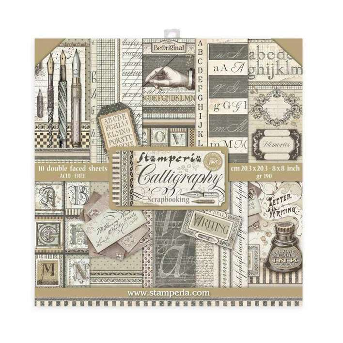 Stamperia Mini Scrapbooking Pad 10 Double Sided Sheets - Calligraphy (20.3 x 20.3cm, 8x8)