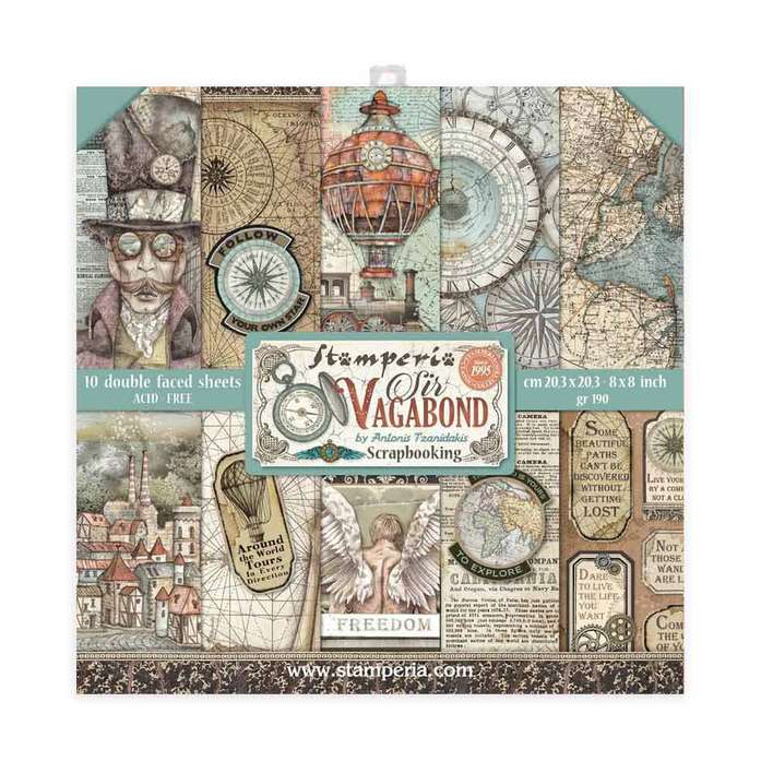 Stamperia Mini Scrapbooking Pad 10 Double Sided Sheets - Sir Vagabond (20.3 x 20.3cm, 8x8)