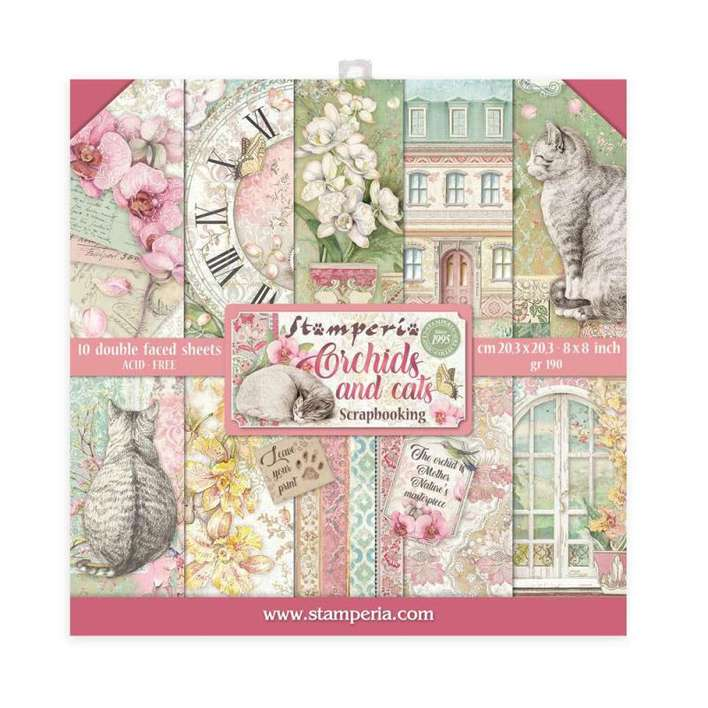 SO: Stamperia Mini Scrapbooking Pad 10 Double Sided Sheets - Orchids And Cats (20.3 x 20.3cm, 8x8)