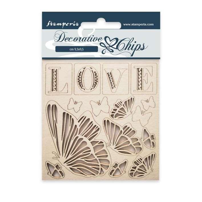 Stamperia Decorative Chips Love (9.5 x 9.5cm)