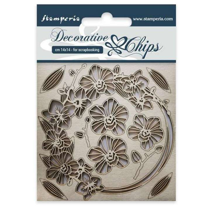 Stamperia Decorative Chips Garland of Flowers (14 x 14cm)