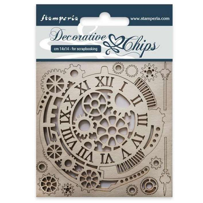 SO: Stamperia Decorative Chips Gears And Clocks (14 x 14cm)