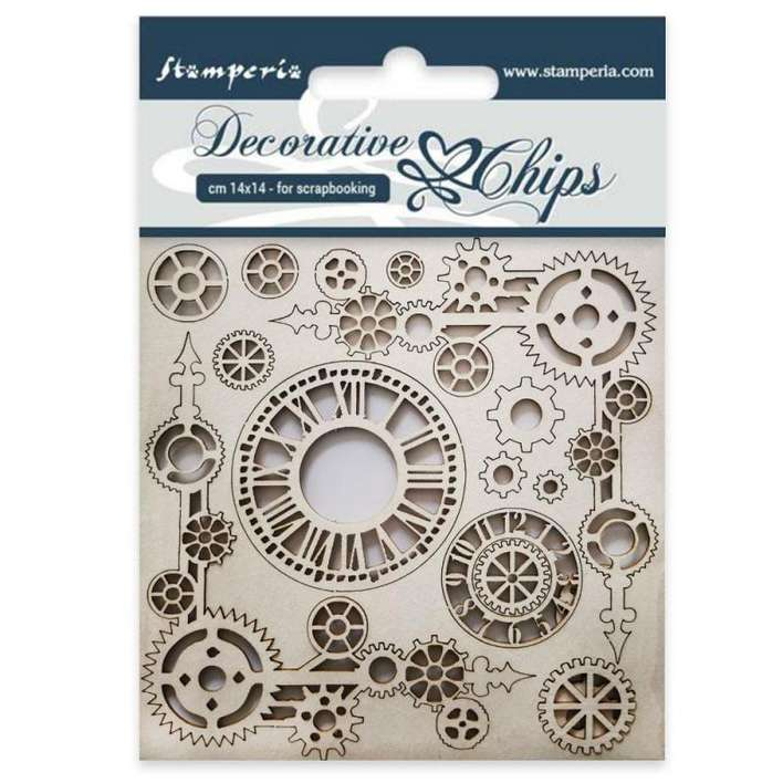 SO: Stamperia Decorative Chips Clock And Corners (14 x 14cm)