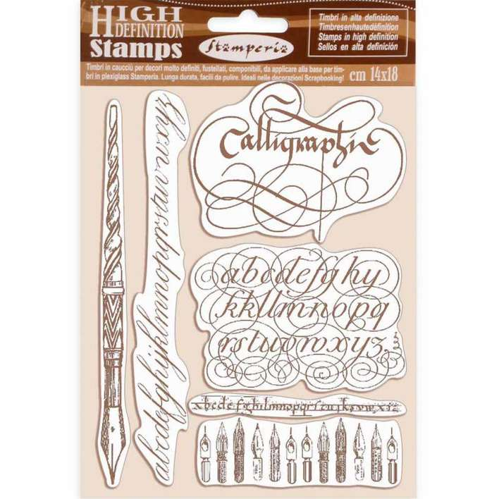 Stamperia HD Natural Rubber Stamp Calligraphy (14 x 18cm)