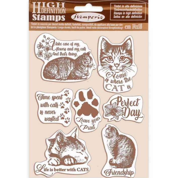 SO: Stamperia HD Natural Rubber Stamp Cats (14 x 18cm)
