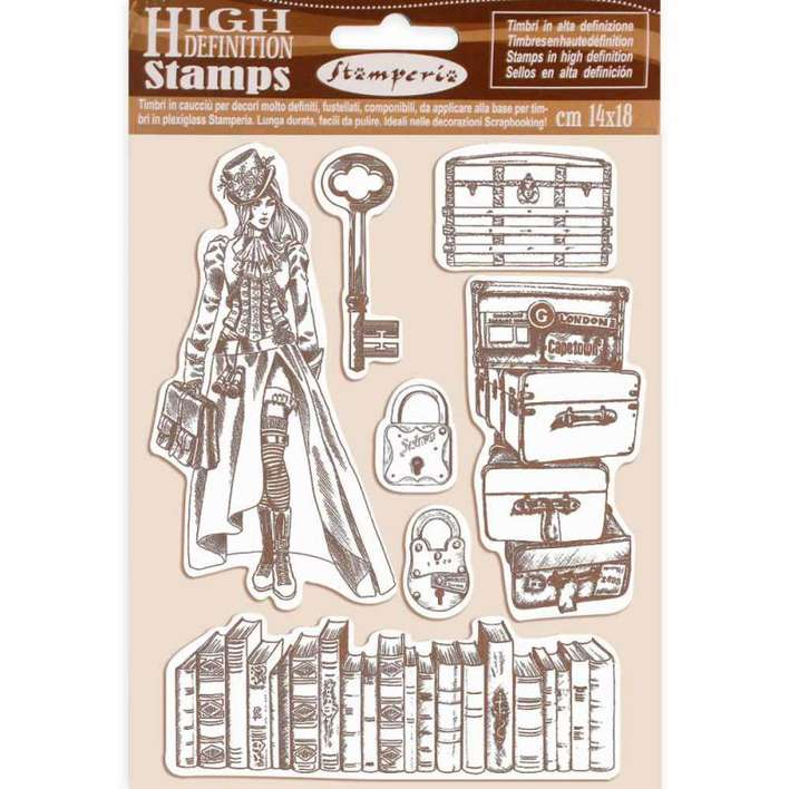 Stamperia HD Natural Rubber Stamp Lady Vagabond (14 x 18cm)