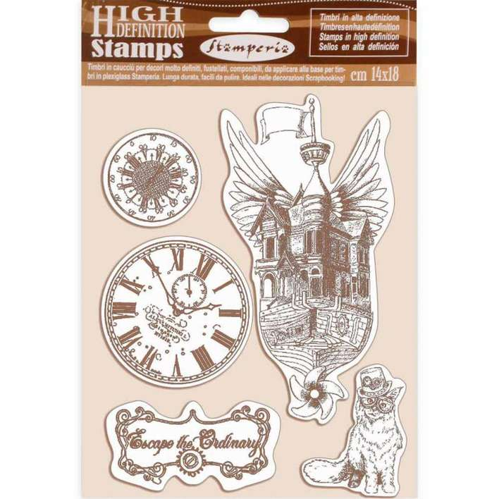 Stamperia HD Natural Rubber Stamp Lady Vagabond Flying Ship (14 x 18cm)