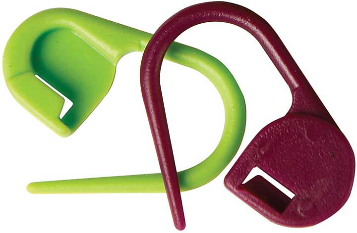 KnitPro Plastic Locking Stitch Markers, Purple and Green (30pk)