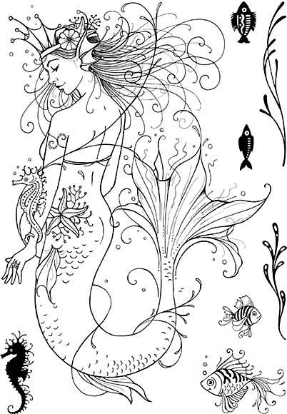 SO: Pink Ink Designs A5 Clear Stamp Set  Mermaid