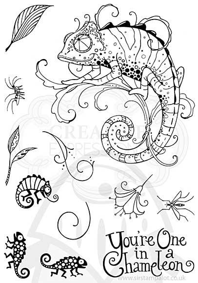 SO: Pink Ink Designs Clear Stamp Chameleon A5