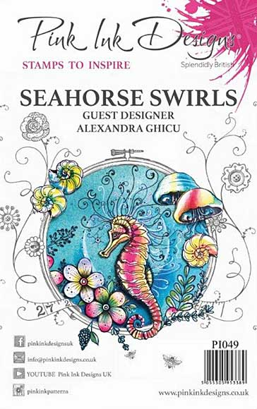 Pink Ink Designs Clear Stamp - Seahorse Swirls