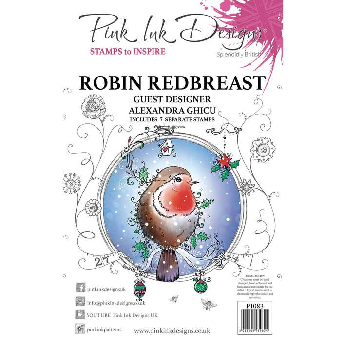 Pink Ink Designs Robin Redbreast A5 Clear Stamp Set