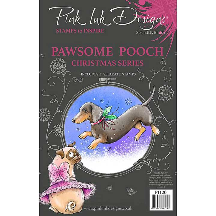 Pink Ink Designs Pawsome Pooch A5 Clear Stamp (3006)