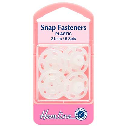 Hemline Snap Fasteners Sew-on Clear (Plastic) 21mm Pack of 6