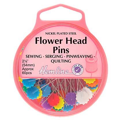 Hemline Flat Flower Head Nickel Pins, 54mm (60pcs)