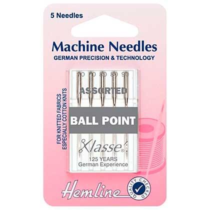 Hemline Sewing Machine Needles - Ball Point (Mixed, 5 Needles)