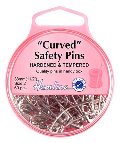 Hemline Curved Safety Pins - Nickel (38mm, 60pcs)
