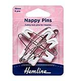 Hemline Nappy Pins 56mm (6pk White)