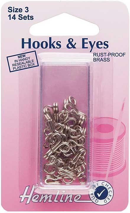 Hemline Hooks and Eyes - Nickel Silver, Size 3, (14 sets)