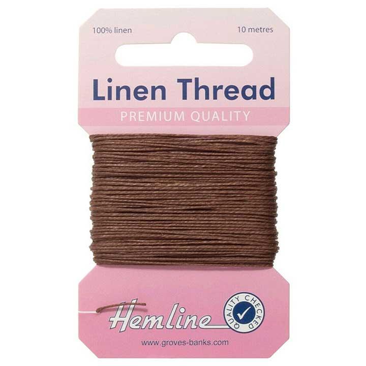 Hemline 100% Linen Thread - Brown