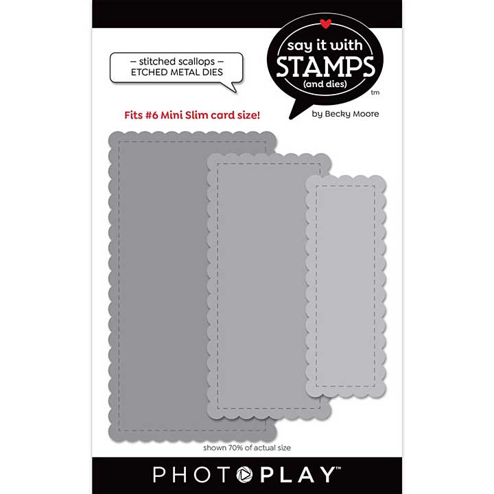 PhotoPlay Say It With Stamps Die Set - #6 Nested Stitched Scallops