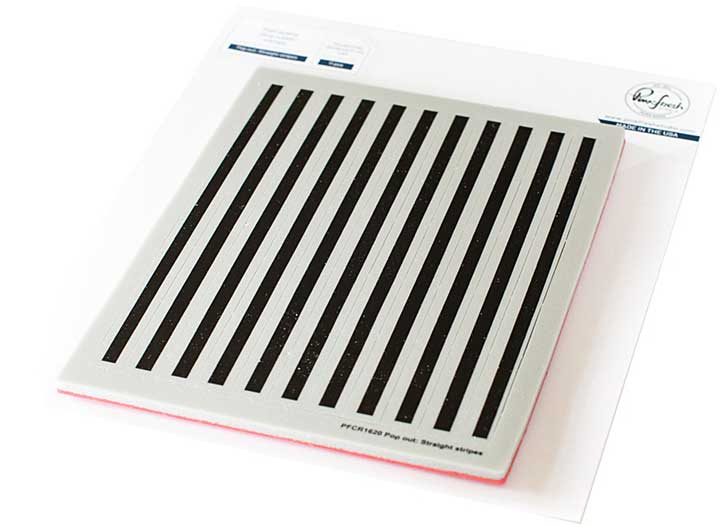 Pinkfresh Studio Cling Rubber Background Stamp Set A2 - Pop-Out Straight Stripes