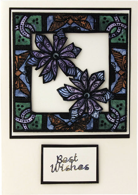 Best Wishes Framed Flowers by Lady Stampalot