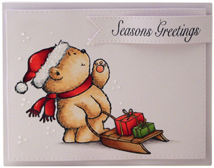 Teddy with sleigh by Louise Roache