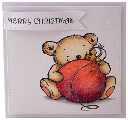 Teddy with christmas bauble by Louise Roache