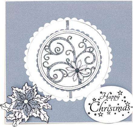 Happy Christmas Poinsettia Swirls by Sara Rosamond